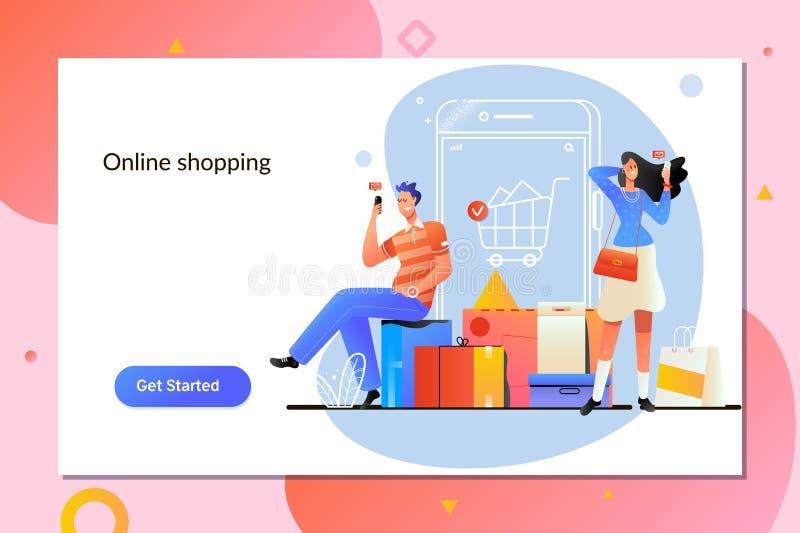 Compras en línea Concepto del servicio del comercio electrónico y de entrega Tienda de Peiole en línea usando smartphone stock de ilustración