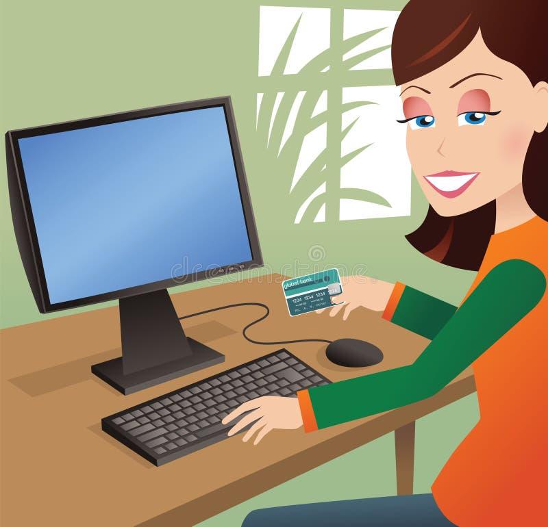 Compras en línea de la muchacha ilustración del vector