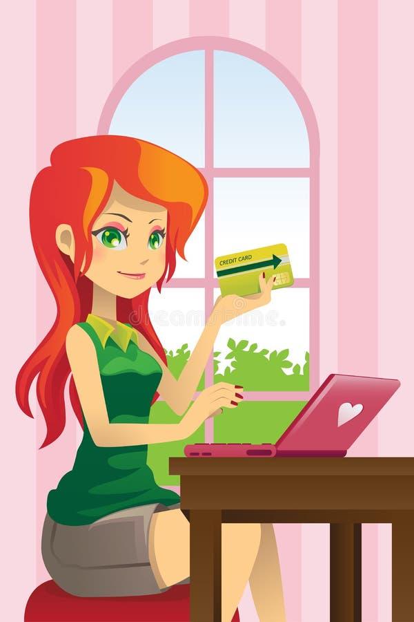 Compras en línea de la mujer stock de ilustración