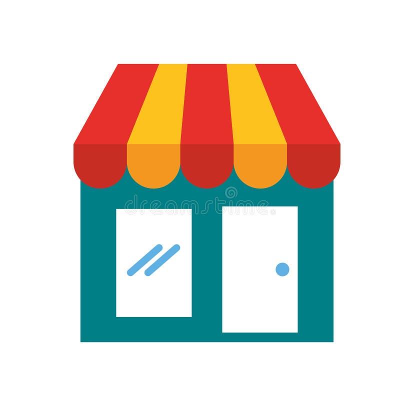 Compras en línea del comercio virtual de la tienda del mercado stock de ilustración