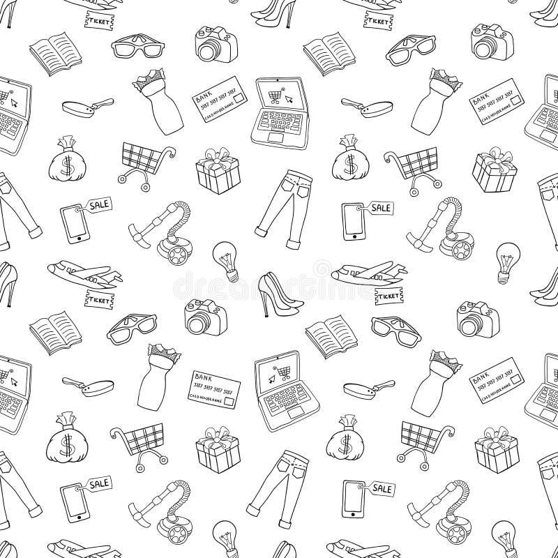 Compras en línea del concepto del drenaje de la mano del vector del bosquejo libre illustration