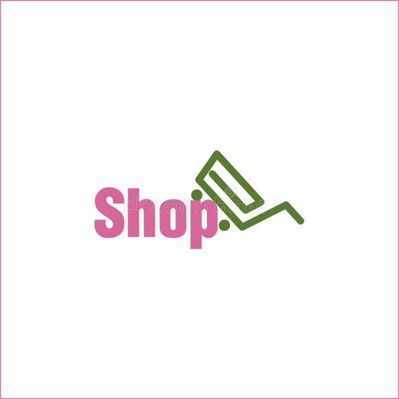 Compras en línea del logotipo del icono de la carta de la tienda stock de ilustración