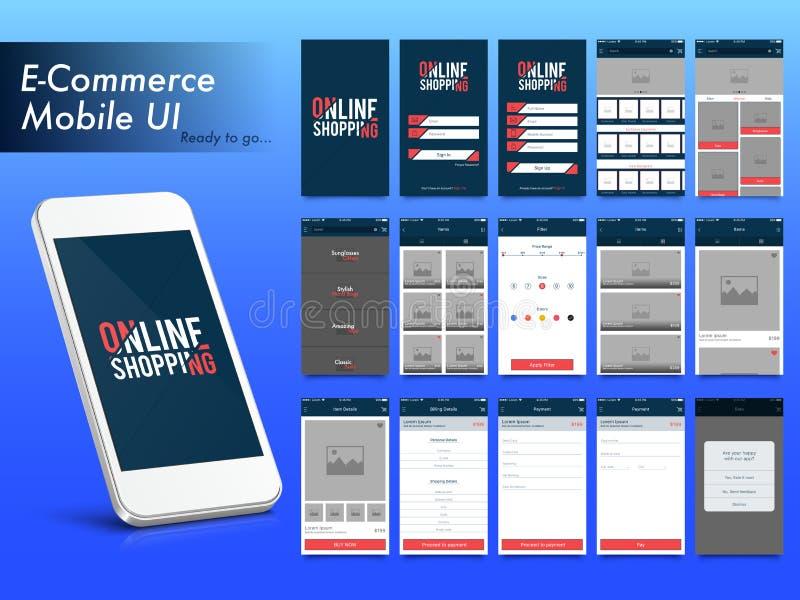Compras en línea disposición móvil de Apps UI, de UX y del GUI stock de ilustración