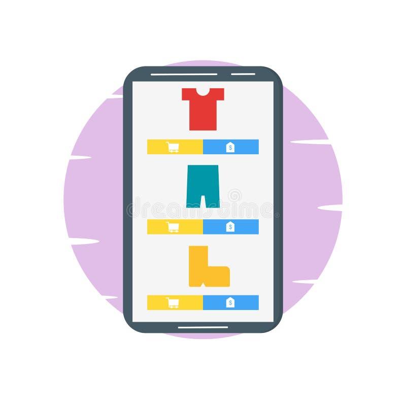 Compras en línea en el ejemplo móvil - vector stock de ilustración