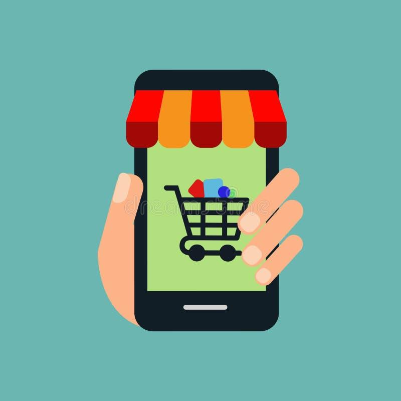 Compras en línea en el márketing de la página web o del márketing y de Digitaces del concepto del vector de la aplicación móvil libre illustration