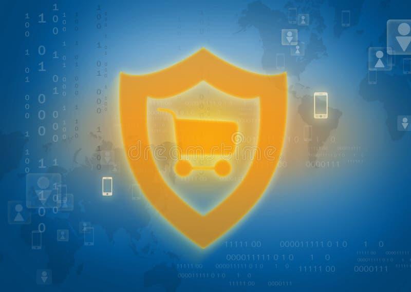 Compras en línea en escudo protegido Internet imagen de archivo libre de regalías