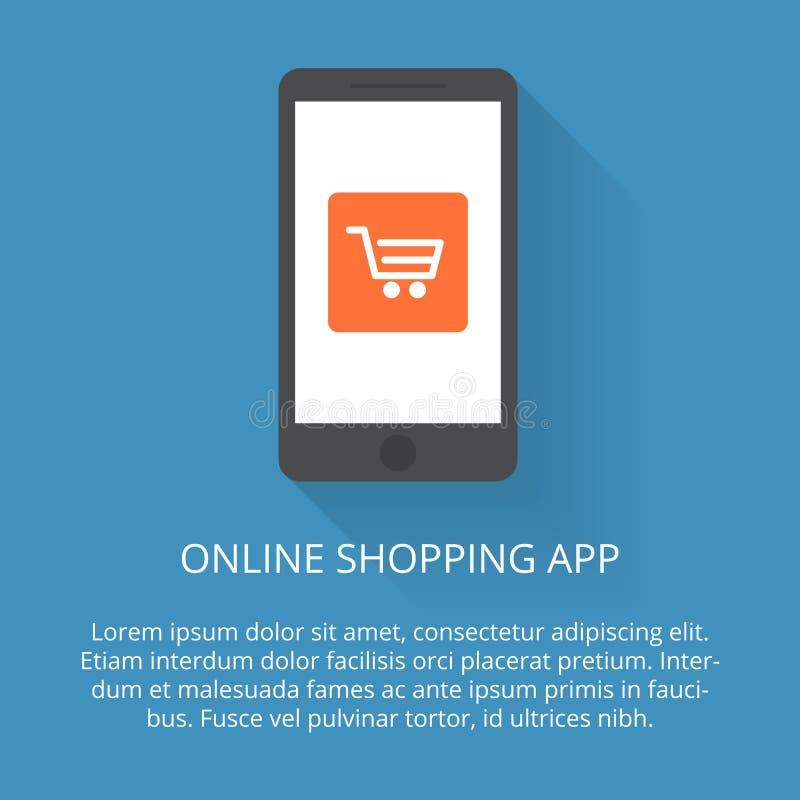 Compras en línea Imagen de la cesta de materia en su dispositivo móvil ejemplo en un estilo plano con una sombra que cae stock de ilustración