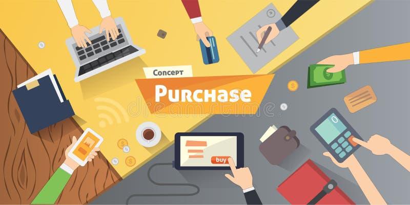 Compras en línea, mesa con el ordenador, tarjetas de crédito, manos del anuncio Ejemplo plano moderno del vector del producto de  stock de ilustración