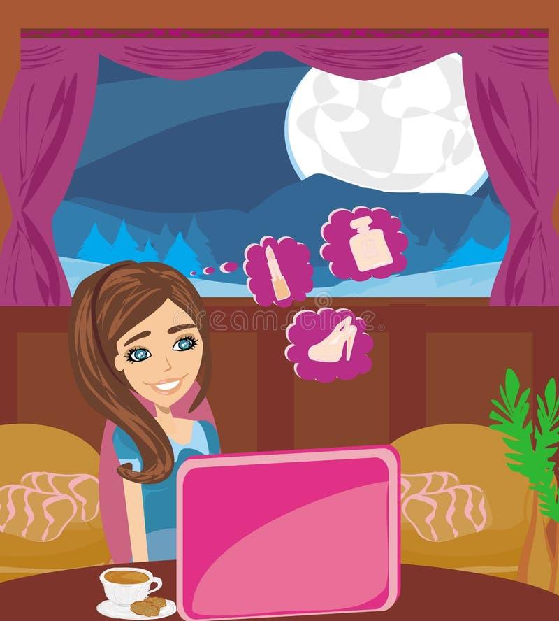 Compras en línea - mujer sonriente joven que se sienta con el comput del ordenador portátil libre illustration