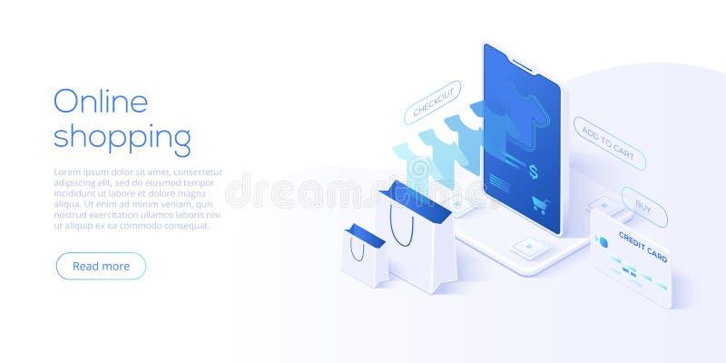 Compras en línea o ejemplo isométrico del vector del comercio electrónico interno libre illustration