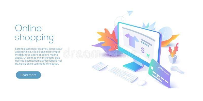 Compras en línea o ejemplo isométrico del vector del comercio electrónico interno stock de ilustración
