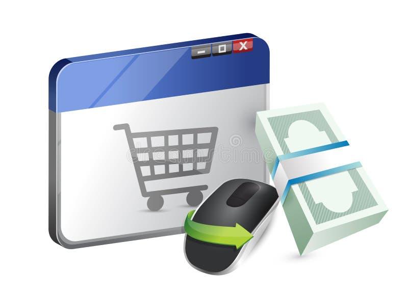 Compras en línea. Ratón inalámbrico del ordenador i ilustración del vector