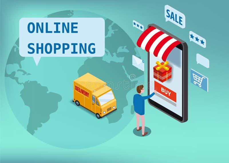Compras en línea, servicio de envío express, servicio de mensajero Mercancías isométricas de los pedidos del comprador del smartp ilustración del vector