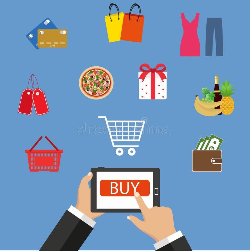 Compras en línea, teléfono móvil, compras con el teléfono móvil libre illustration