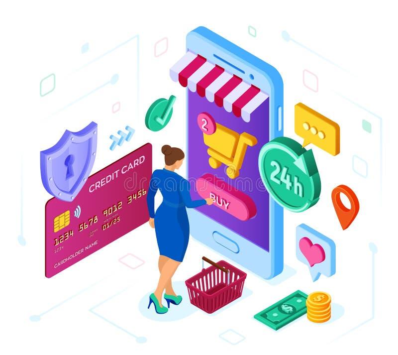 Compras en línea tienda en línea isométrica 3D El hacer compras en línea en sitio web o la aplicación móvil Carácter del cliente  ilustración del vector