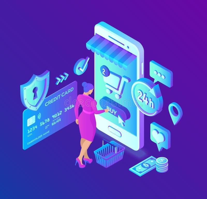 Compras en línea tienda en línea isométrica 3D El hacer compras en línea en sitio web o la aplicación móvil Carácter del cliente  stock de ilustración