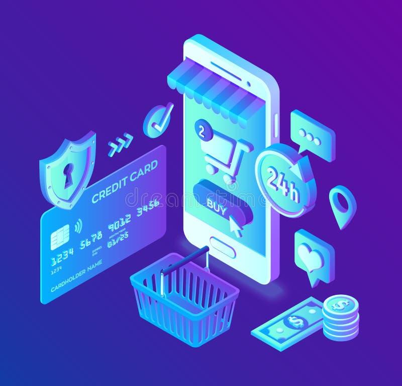 Compras en línea tienda en línea isométrica 3D El hacer compras en línea en sitio web o la aplicación móvil Concepto de ventas de ilustración del vector