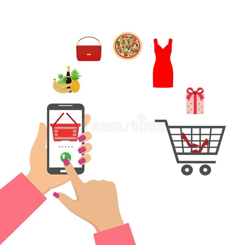 Compras en l?nea Mano humana usando el teléfono móvil para la compra libre illustration