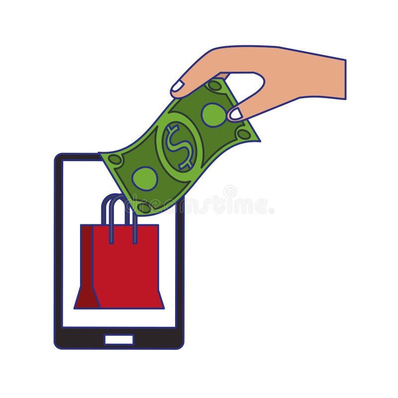 Compras en l?nea y l?neas azules de los s?mbolos de las ventas ilustración del vector