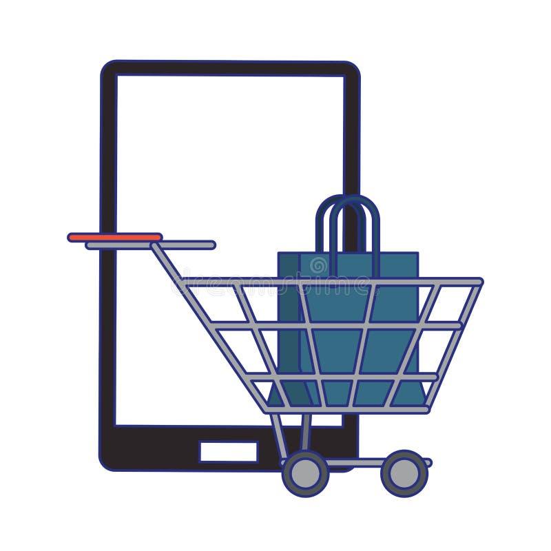 Compras en l?nea y l?neas azules de los s?mbolos de las ventas stock de ilustración
