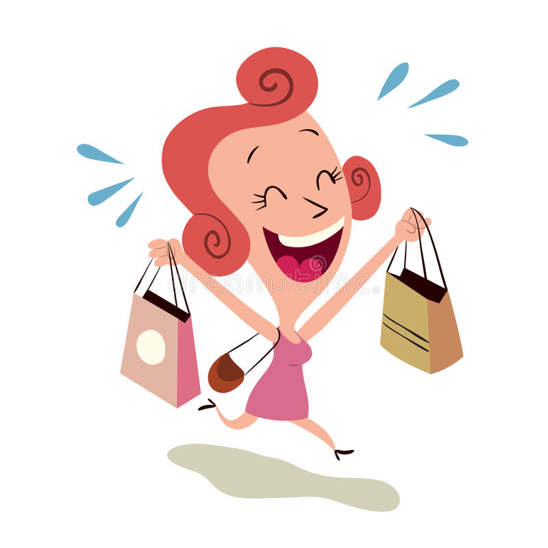 Compras felices de la mujer stock de ilustración