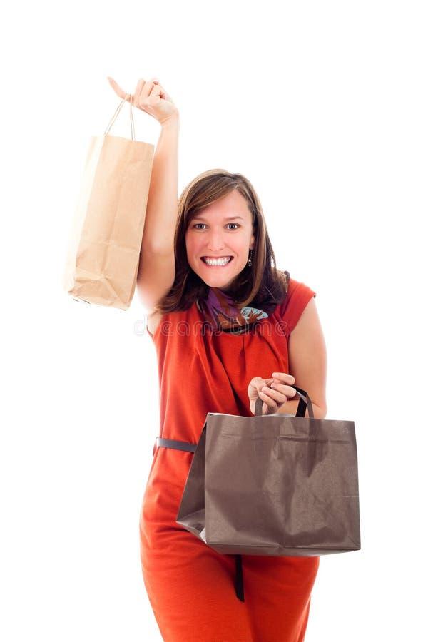 Compras felices emocionadas de la mujer fotografía de archivo
