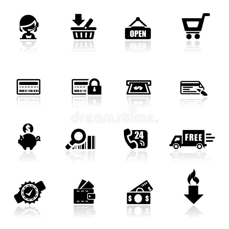 Compras fijadas iconos stock de ilustración