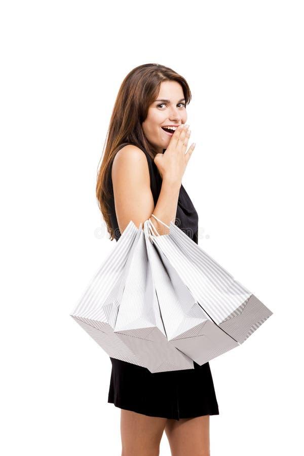 Compras hermosas de la mujer imagen de archivo libre de regalías
