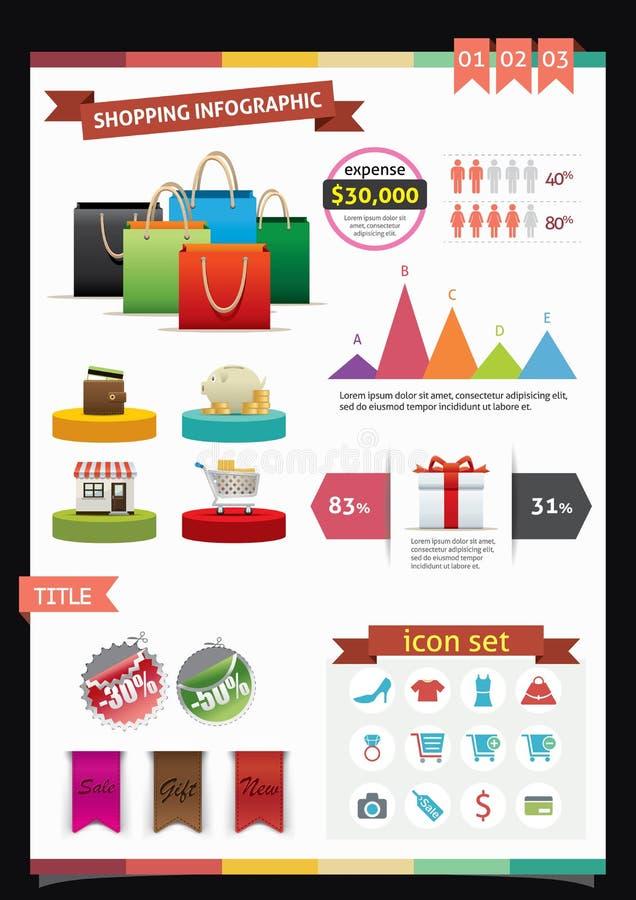 Compras Infographics ilustración del vector