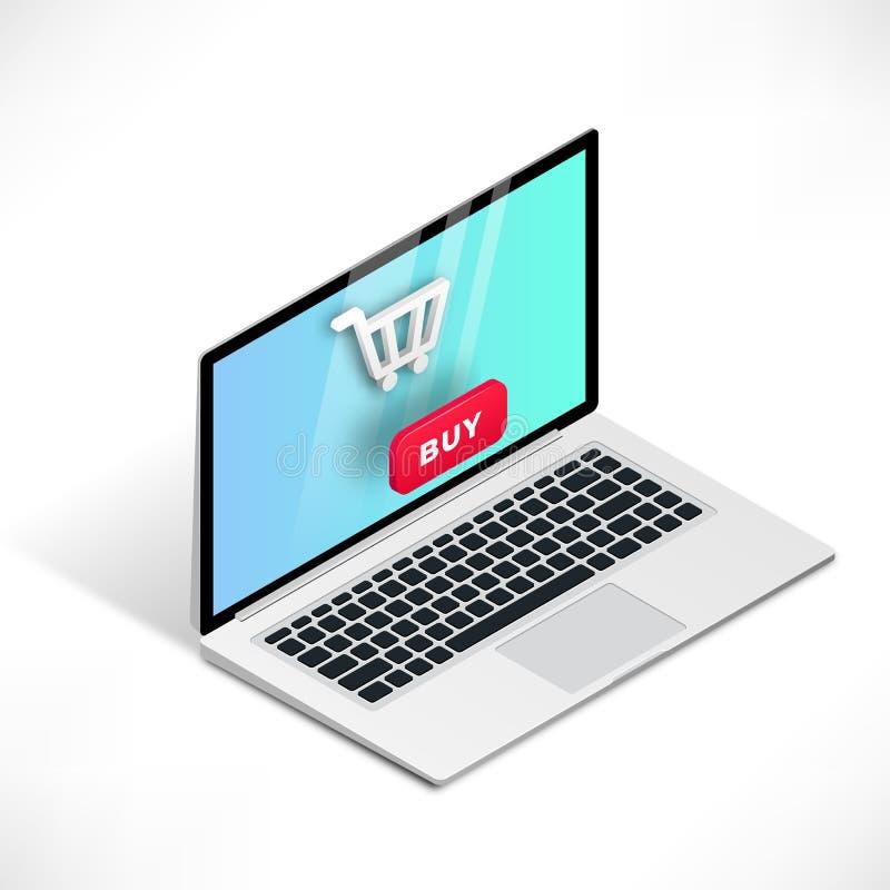 compras isométricas del ordenador portátil 3d libre illustration