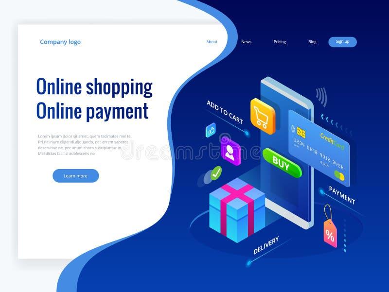 Compras isométricas en línea y conceptos en línea del pago Pagos de Internet, transferencia monetaria de la protección, vector en ilustración del vector