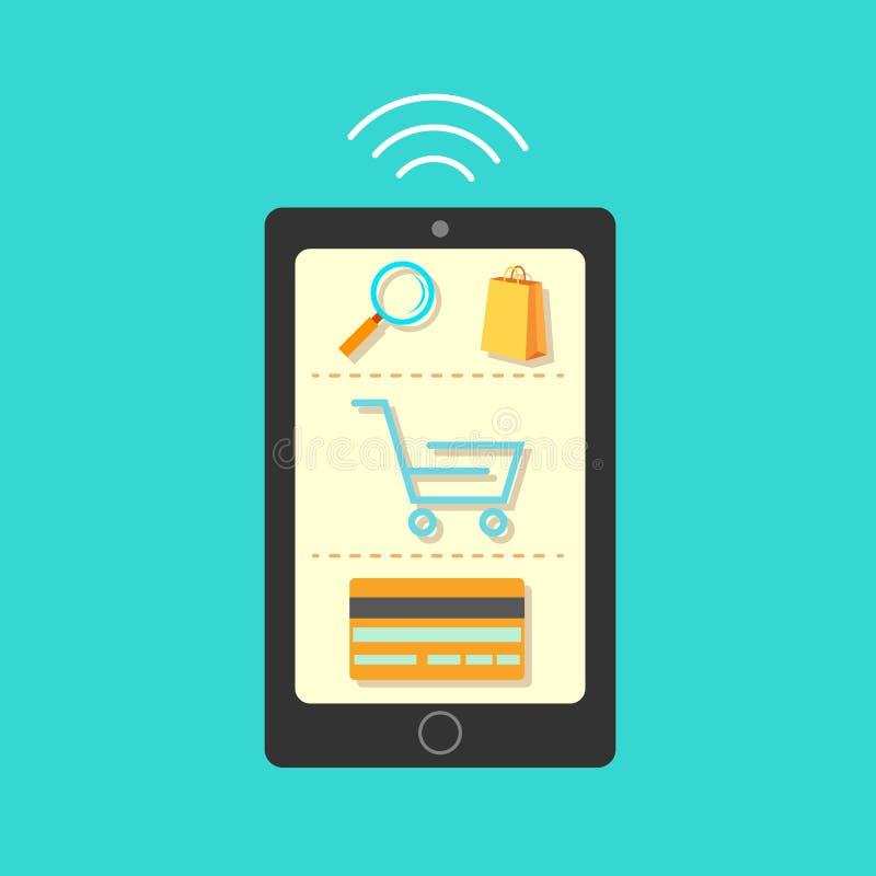 Compras móviles stock de ilustración