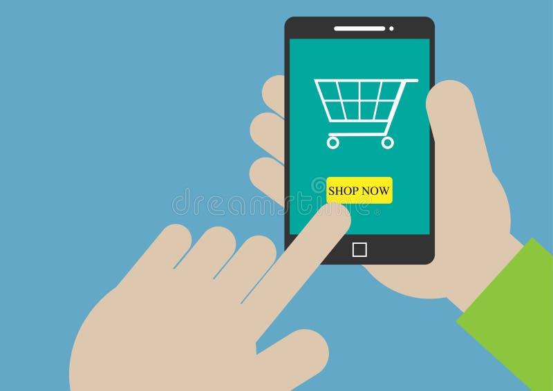 Compras móviles con diseño del vector de la mano foto de archivo libre de regalías