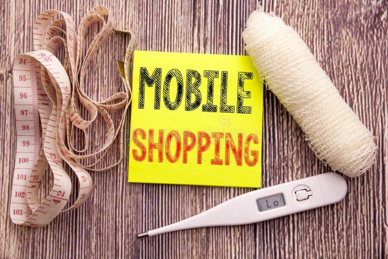 Compras móviles Concepto de la salud de la aptitud del negocio para la orden en línea del teléfono móvil escrita el fondo de pape fotos de archivo