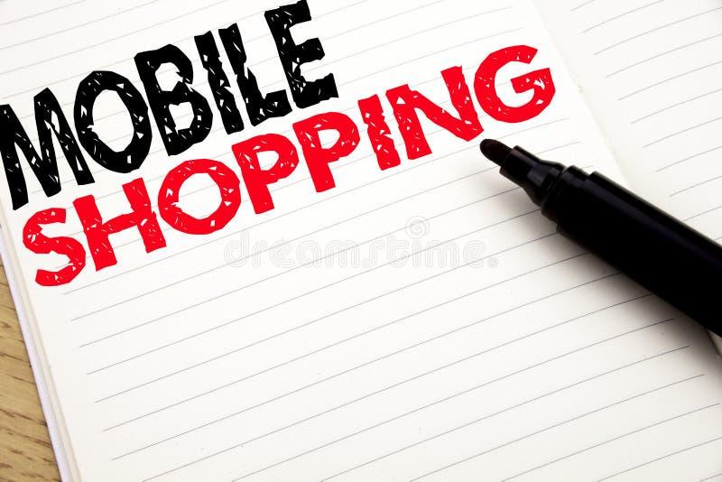 Compras móviles Concepto del negocio para la orden en línea del teléfono móvil escrita en el cuaderno con el espacio de la copia  imagenes de archivo