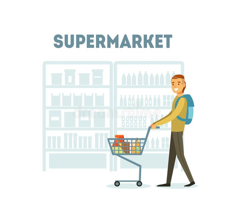 Compras masculinas del comprador en el supermercado con el carro lleno de ultramarinos, ejemplo diario del vector de la compra de stock de ilustración