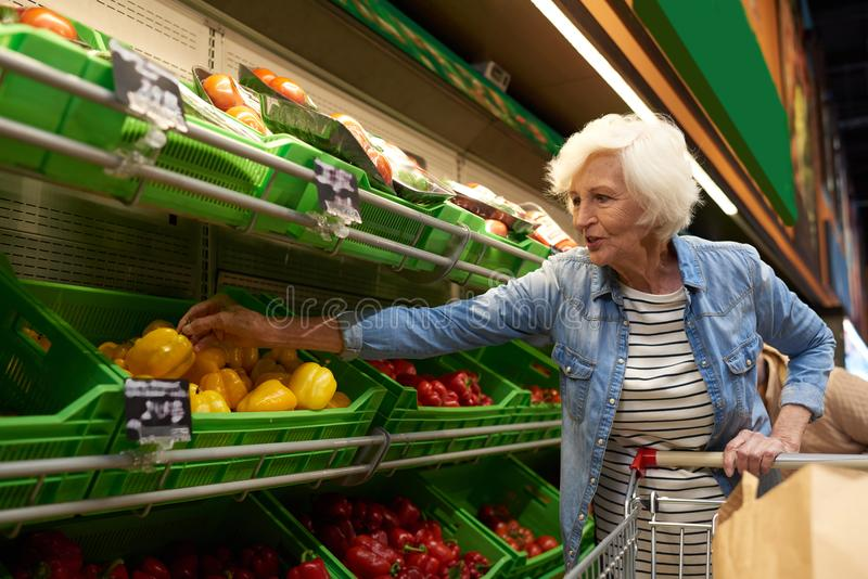 Compras mayores de la mujer en supermercado foto de archivo libre de regalías
