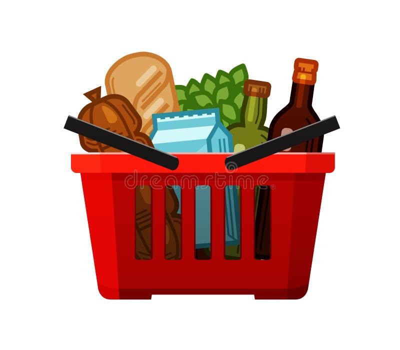Compras na mercearia Ícone da cesta, da loja, do alimento e das bebidas Ilustração do vetor dos desenhos animados ilustração stock