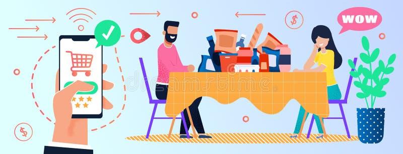 Compras na mercearia em linha através da aplicação móvel ilustração royalty free