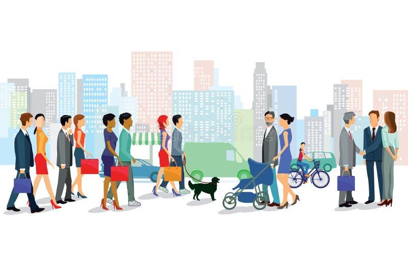 Compras ocupadas de la gente en la ciudad libre illustration