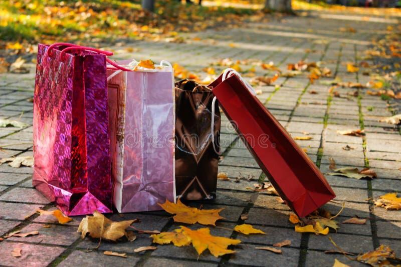 Compras Sacos de papel coloridos em um parque, entre as folhas amarelas fotografia de stock