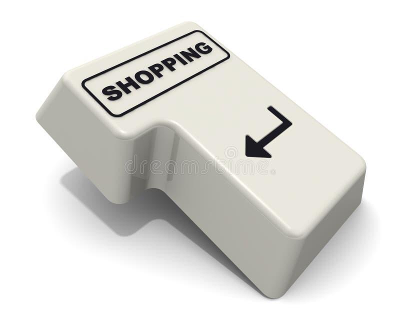 Compras A tecla enter com texto ilustração stock