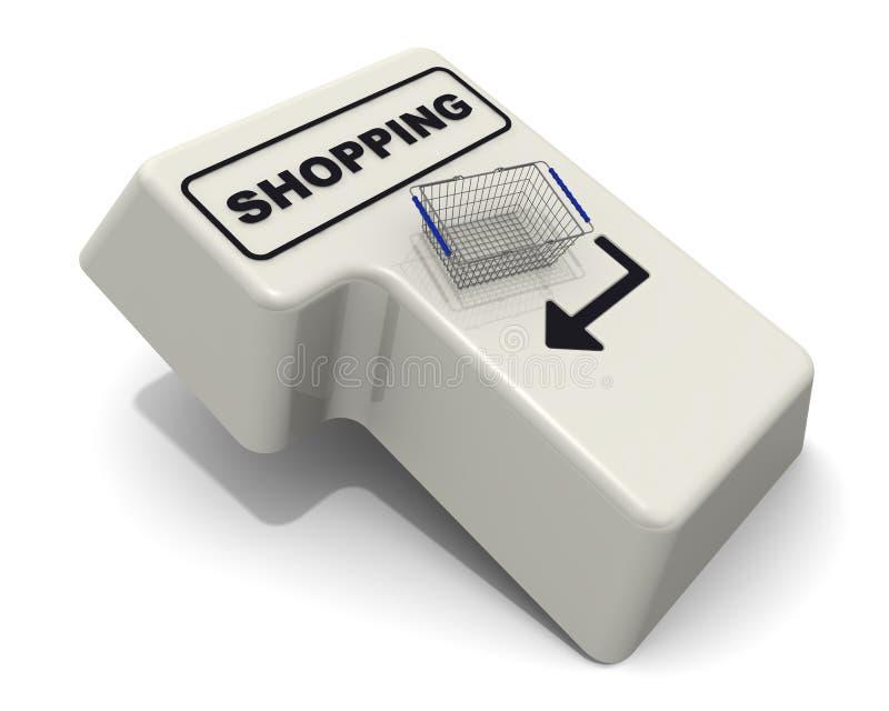 Compras A tecla enter do teclado com a cesta do texto e do mantimento ilustração royalty free