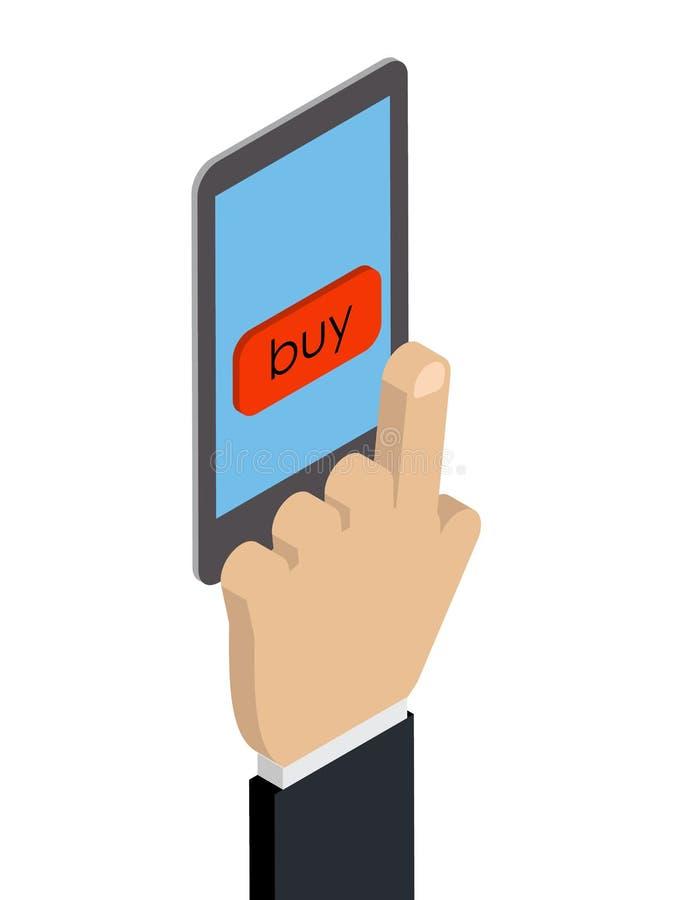 Compras vía el teléfono Isometry, mano-prensa el botón de la compra en libre illustration