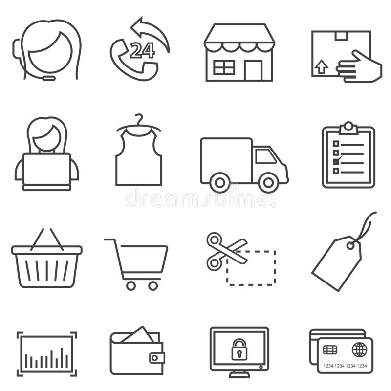 Compras, venta al por menor, y línea en línea sistema del comercio electrónico del icono ilustración del vector