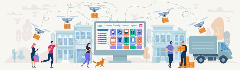 Compras y entrega en línea Ilustración del vector stock de ilustración