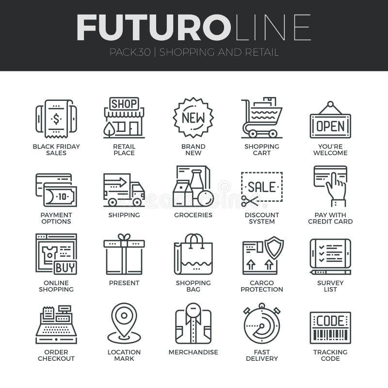 Compras y línea al por menor iconos de Futuro fijados stock de ilustración