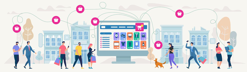 Compras y red en línea Ilustración del vector ilustración del vector