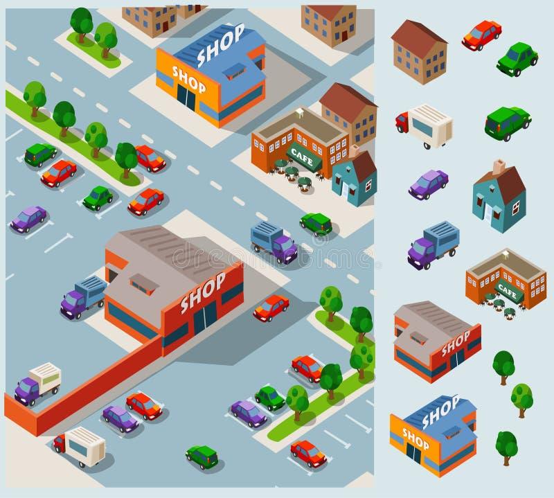 Compras y tienda de comestibles ilustración del vector