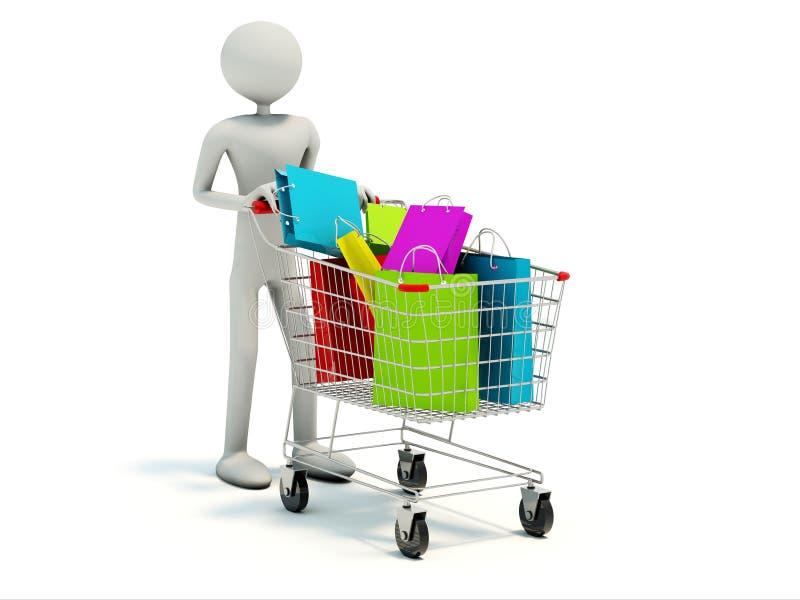 Compratore con il carrello di acquisto pieno illustrazione vettoriale